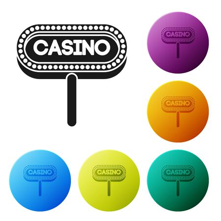 Black Casino signboard icon isolated on white background. Set icons colorful circle buttons. Vector Illustration