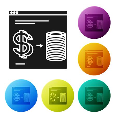 Black Online casino chips exchange on stacks of dollars icon isolated on white background. Set icons colorful circle buttons. Vector Illustration