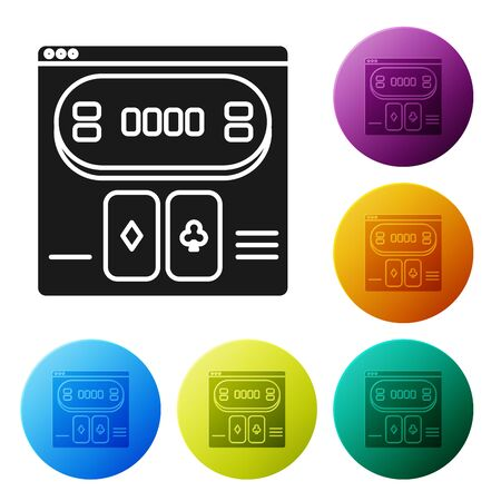 Black Online poker table game icon isolated on white background. Online casino. Set icons colorful circle buttons. Vector Illustration