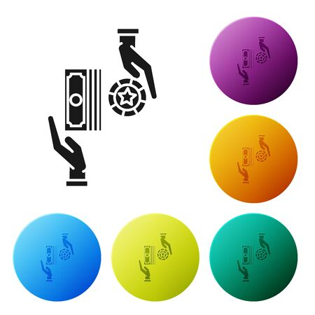 Black Casino chips exchange on stacks of dollars icon isolated on white background. Set icons colorful circle buttons. Vector Illustration Illustration