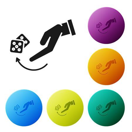 Black Human hand throwing game dice icon isolated on white background. Set icons colorful circle buttons. Vector Illustration
