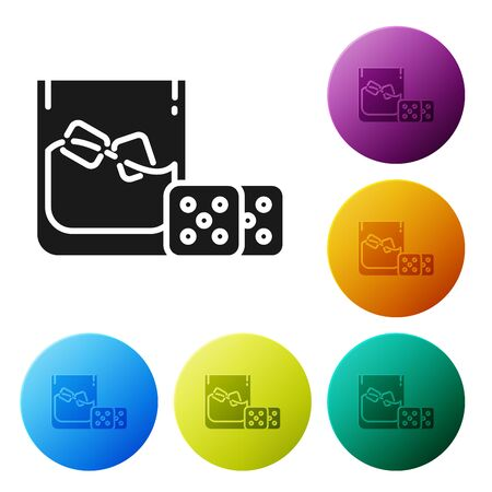 Black Game dice and glass of whiskey with ice cubes icon isolated on white background. Casino gambling. Set icons colorful circle buttons. Vector Illustration
