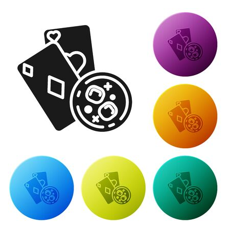 Black Playing cards and glass of whiskey with ice cubes icon isolated on white background. Casino gambling. Set icons colorful circle buttons. Vector Illustration
