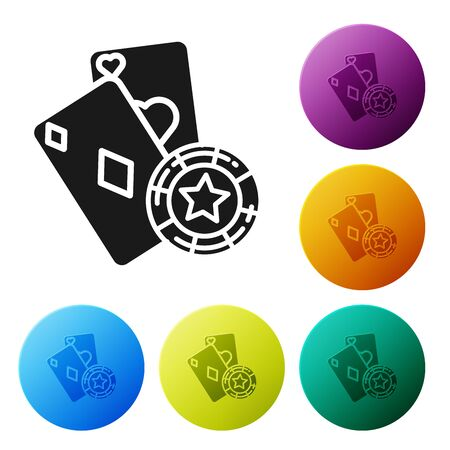 Black Casino chip and playing cards icon isolated on white background. Casino poker. Set icons colorful circle buttons. Vector Illustration