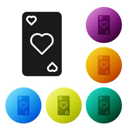 Black Playing card with heart symbol icon isolated on white background. Casino gambling. Set icons colorful circle buttons. Vector Illustration Illustration