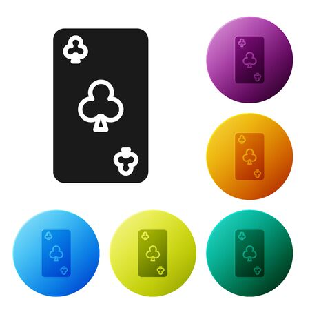 Black Playing card with clubs symbol icon isolated on white background. Casino gambling. Set icons colorful circle buttons. Vector Illustration