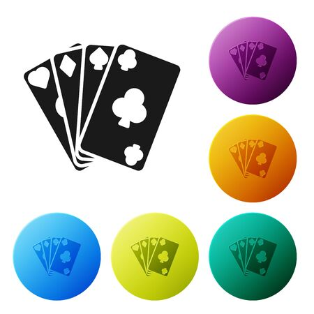Black Playing cards icon isolated on white background. Casino gambling. Set icons colorful circle buttons. Vector Illustration Illustration