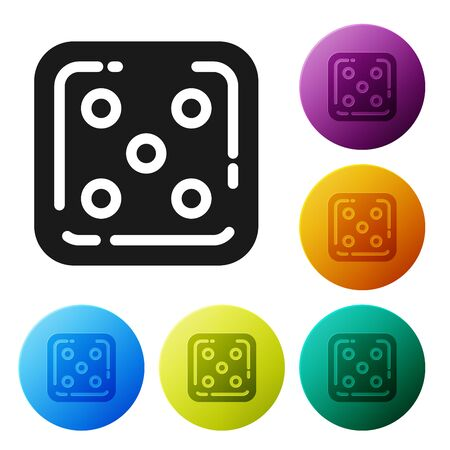 Black Game dice icon isolated on white background. Casino gambling. Set icons colorful circle buttons. Vector Illustration