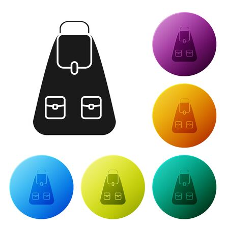 Black School backpack icon isolated on white background. Set icons colorful circle buttons. Vector Illustration Banco de Imagens - 132042953