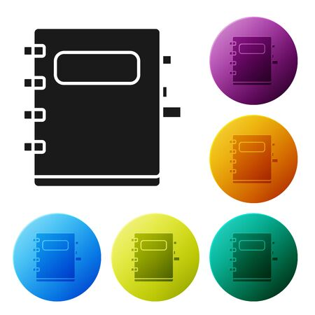 Black Notebook icon isolated on white background. Spiral notepad icon. School notebook. Writing pad. Diary for school. Set icons colorful circle buttons. Vector Illustration Zdjęcie Seryjne - 132056068
