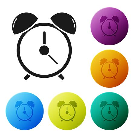 Black Alarm clock icon isolated on white background. Wake up, get up concept. Time sign. Set icons colorful circle buttons. Vector Illustration