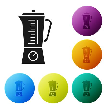 Black Blender icon isolated on white background. Kitchen electric stationary blender with bowl. Cooking smoothies, cocktail or juice. Set icons colorful circle buttons. Vector Illustration