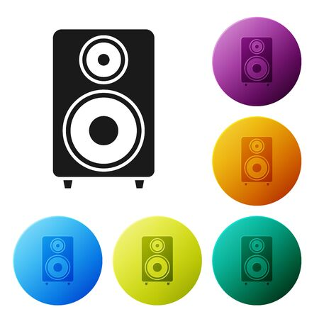 Black Stereo speaker icon isolated on white background. Sound system speakers. Music icon. Musical column speaker bass equipment. Set icons colorful circle buttons. Vector Illustration