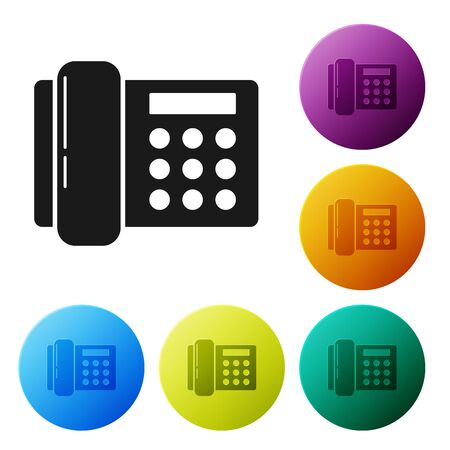 Black Telephone icon isolated on white background. Landline phone. Set icons colorful circle buttons. Vector Illustration