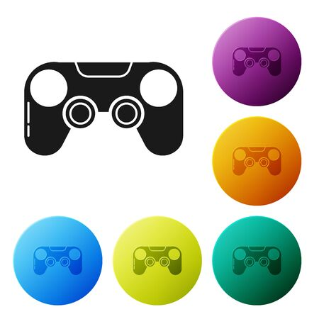 Black Gamepad icon isolated on white background. Game controller. Set icons colorful circle buttons. Vector Illustration