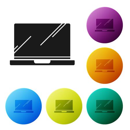 Black Laptop icon isolated on white background. Computer notebook with empty screen sign. Set icons colorful circle buttons. Vector Illustration