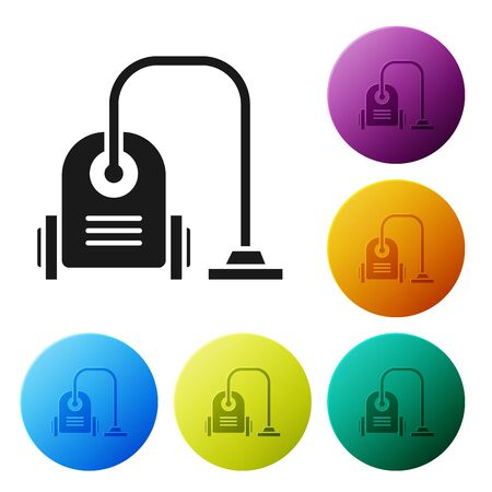 Black Vacuum cleaner icon isolated on white background. Set icons colorful circle buttons. Vector Illustration