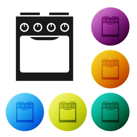 Black Oven icon isolated on white background. Stove gas oven sign. Set icons colorful circle buttons. Vector Illustration