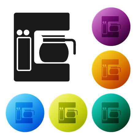 Black Coffee machine with glass pot icon isolated on white background. Set icons colorful circle buttons. Vector Illustration