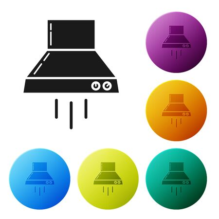 Black Kitchen extractor fan icon isolated on white background. Cooker hood. Kitchen exhaust. Household appliance. Set icons colorful circle buttons. Vector Illustration