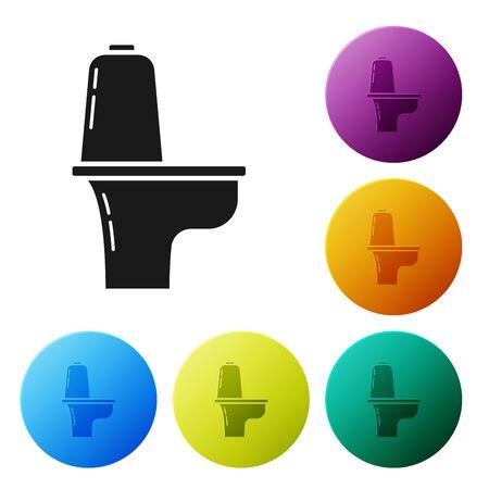 Black Toilet bowl icon isolated on white background. Set icons colorful circle buttons. Vector Illustration Illusztráció
