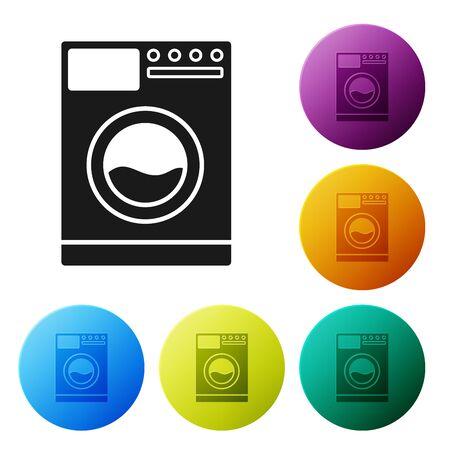 Black Washer icon isolated on white background. Washing machine icon. Clothes washer - laundry machine. Home appliance symbol. Set icons colorful circle buttons. Vector Illustration Illustration