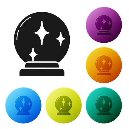 Black Magic ball icon isolated on white background. Crystal ball. Set icons colorful circle buttons. Vector Illustration Illusztráció