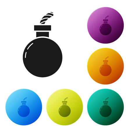 Black Bomb ready to explode icon isolated on white background. Happy Halloween party. Set icons colorful circle buttons. Vector Illustration Illustration