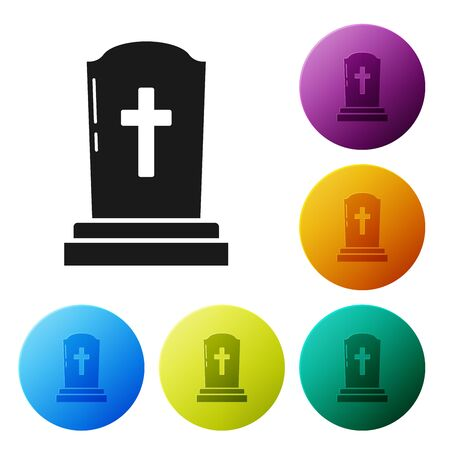 Black Tombstone with cross icon isolated on white background. Grave icon. Set icons colorful circle buttons. Vector Illustration