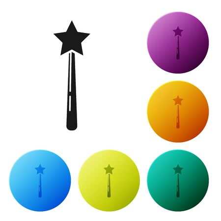 Black Magic wand icon isolated on white background. Star shape magic accessory. Magical power. Set icons colorful circle buttons. Vector Illustration