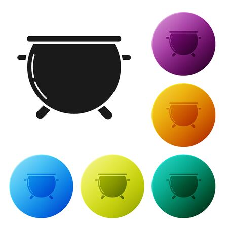 Black Halloween witch cauldron icon isolated on white background. Happy Halloween party. Set icons colorful circle buttons. Vector Illustration Illustration