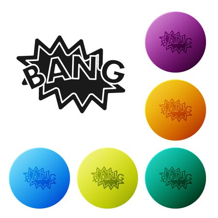 Black Bang boom, gun Comic text speech bubble balloon icon isolated on white background. Set icons colorful circle buttons. Vector Illustration