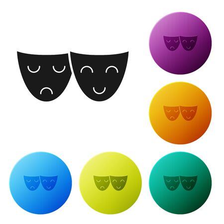 Black Comedy and tragedy theatrical masks icon isolated on white background. Set icons colorful circle buttons. Vector Illustration