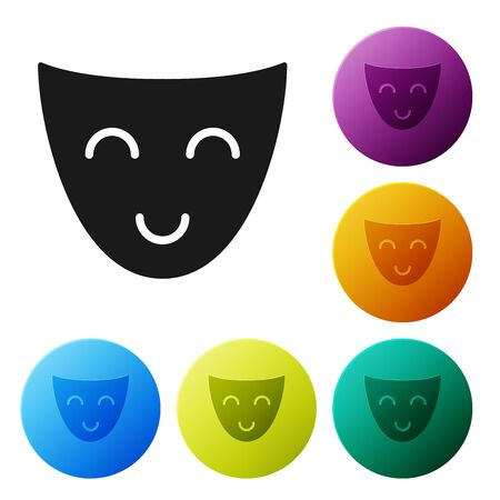 Black Comedy theatrical mask icon isolated on white background. Set icons colorful circle buttons. Vector Illustration