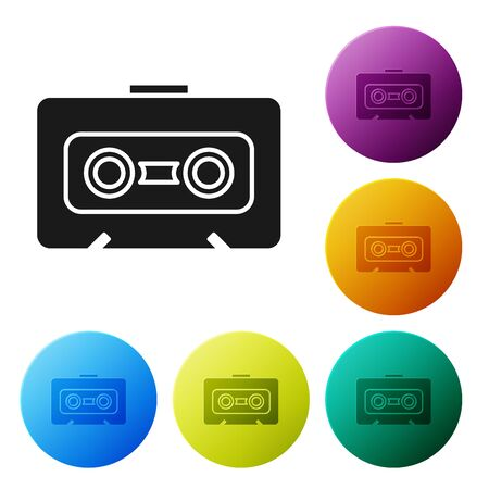 Black Retro audio cassette tape icon isolated on white background. Set icons colorful circle buttons. Vector Illustration Ilustração Vetorial
