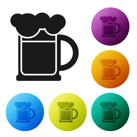 Black Wooden beer mug icon isolated on white background. Set icons colorful circle buttons. Vector Illustration Illustration