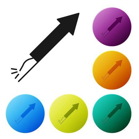 Black Firework rocket icon isolated on white background. Concept of fun party. Explosive pyrotechnic symbol. Set icons colorful circle buttons. Vector Illustration