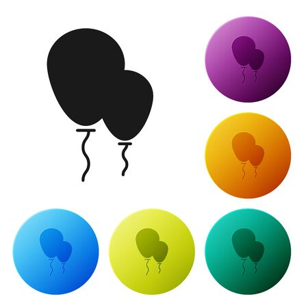 Black Balloons with ribbon icon isolated on white background. Set icons colorful circle buttons. Vector Illustration
