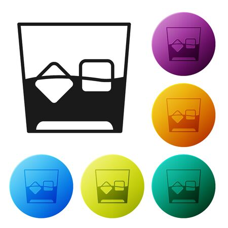 Black Glass of whiskey and ice cubes icon isolated on white background. Set icons colorful circle buttons. Vector Illustration