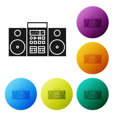 Black Home stereo with two speakers icon isolated on white background. Music system. Set icons colorful circle buttons. Vector Illustration  イラスト・ベクター素材