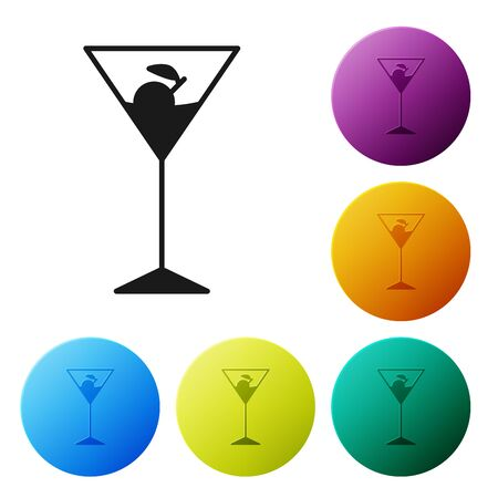 Black Martini glass icon isolated on white background. Cocktail icon. Wine glass icon. Set icons colorful circle buttons. Vector Illustration