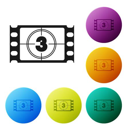 Black Play Video icon isolated on white background. Film strip with start sign. Set icons colorful circle buttons. Vector Illustration Archivio Fotografico - 132056512