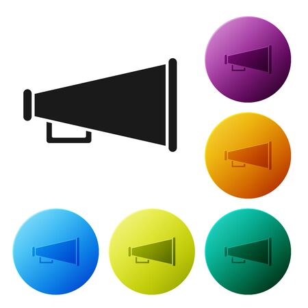 Black Megaphone icon isolated on white background. Speaker sign. Set icons colorful circle buttons. Vector Illustration Çizim