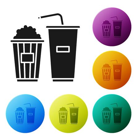 Black Popcorn in cardboard box and paper glass with drinking straw and water icon isolated on white background. Soda drink glass. Set icons colorful circle buttons. Vector Illustration