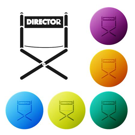 Black Director movie chair icon isolated on white background. Film industry. Set icons colorful circle buttons. Vector Illustration