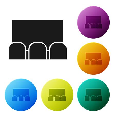 Black Cinema auditorium with screen and seats icon isolated on white background. Set icons colorful circle buttons. Vector Illustration