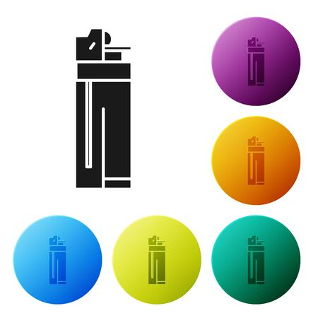 Black Lighter icon isolated on white background. Set icons colorful circle buttons. Vector Illustration