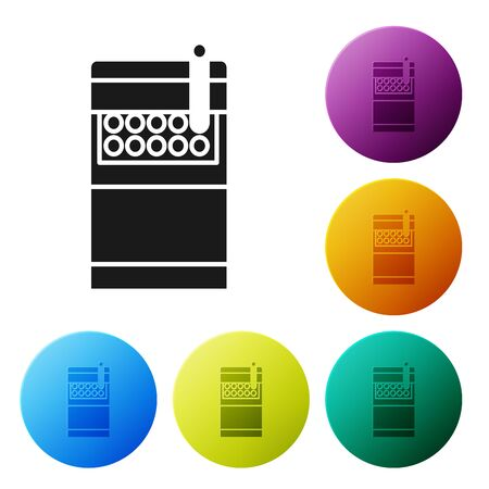 Black Open cigarettes pack box icon isolated on white background. Cigarettes pack. Set icons colorful circle buttons. Vector Illustration Banque d'images - 132056613