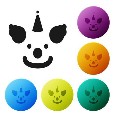 Black Clown head icon isolated on white background. Set icons colorful circle buttons. Vector Illustration  イラスト・ベクター素材