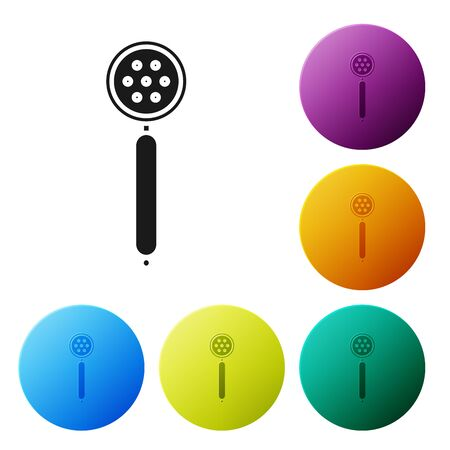 Black Strainer spoon icon isolated on white background. Set icons colorful circle buttons. Vector Illustration